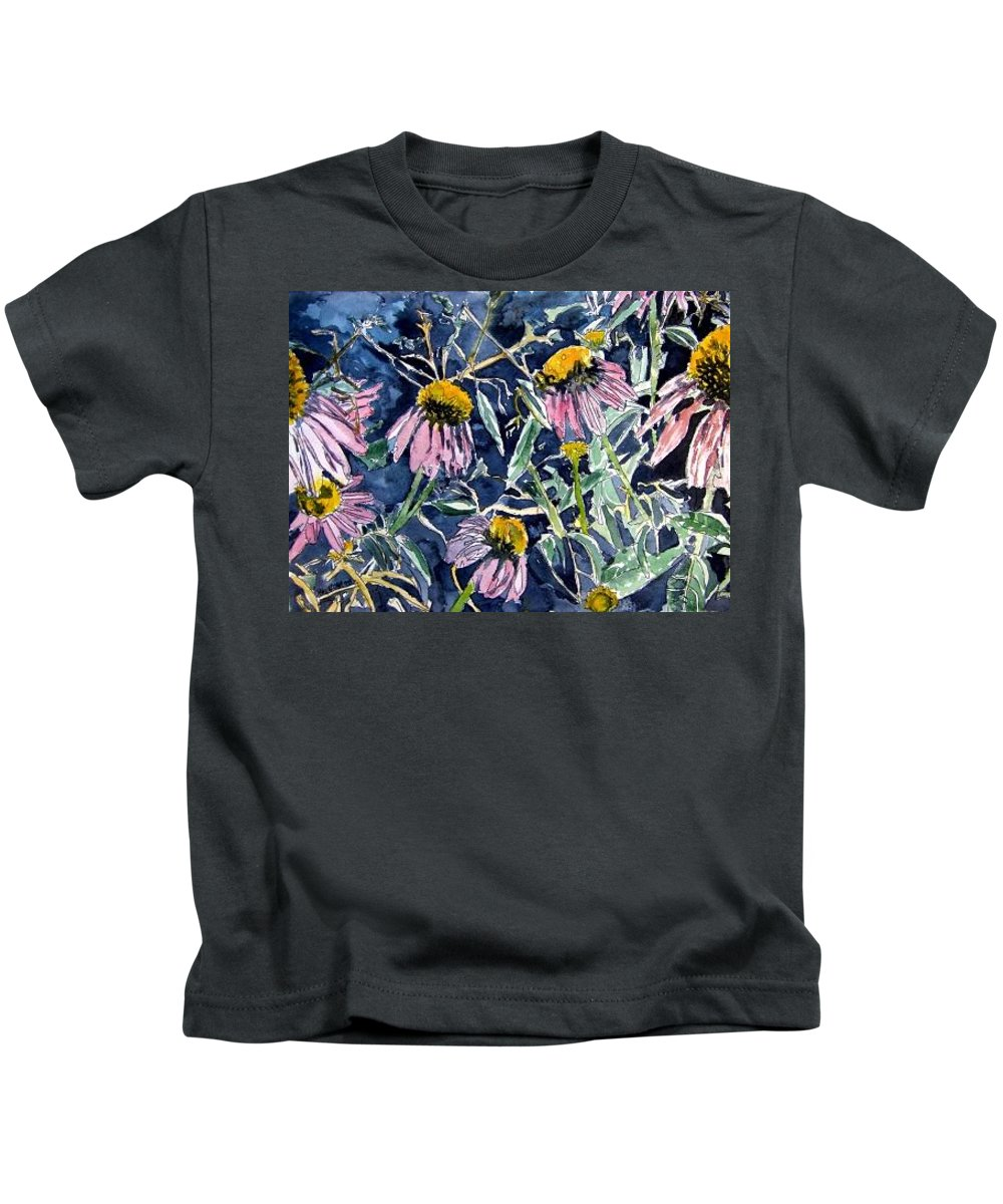 Echinacea Kids T-Shirt featuring the painting Echinacea Cone Flower Art by Derek Mccrea