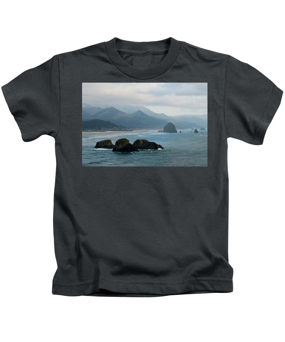Oregon Kids T-Shirt featuring the photograph Ecola State Park View Of Haystack Rock And 3 Arch Rocks by Renee Hong