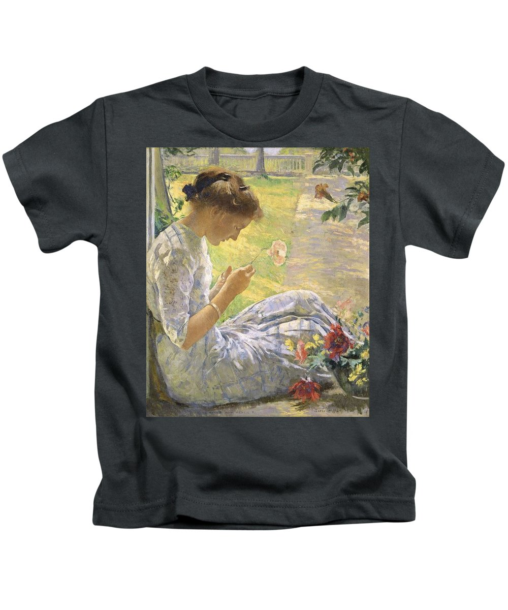 Girl Kids T-Shirt featuring the painting Edmund Charles Tarbell - Mercie Cutting Flowers 1912 by Edmund Charles Tarbell