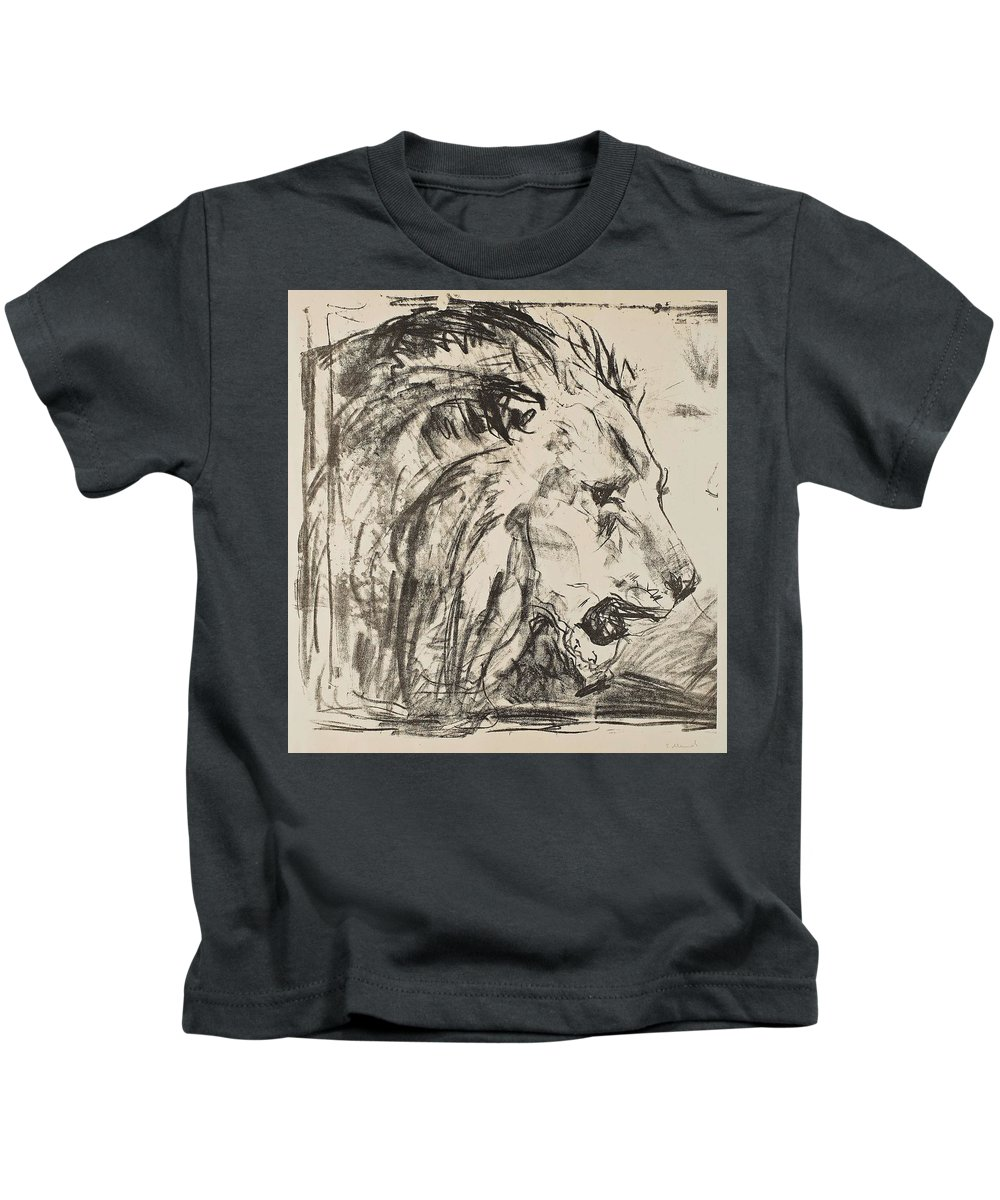 Art Kids T-Shirt featuring the painting Edvard Munch, The Lion Tamer by Edvard Munch