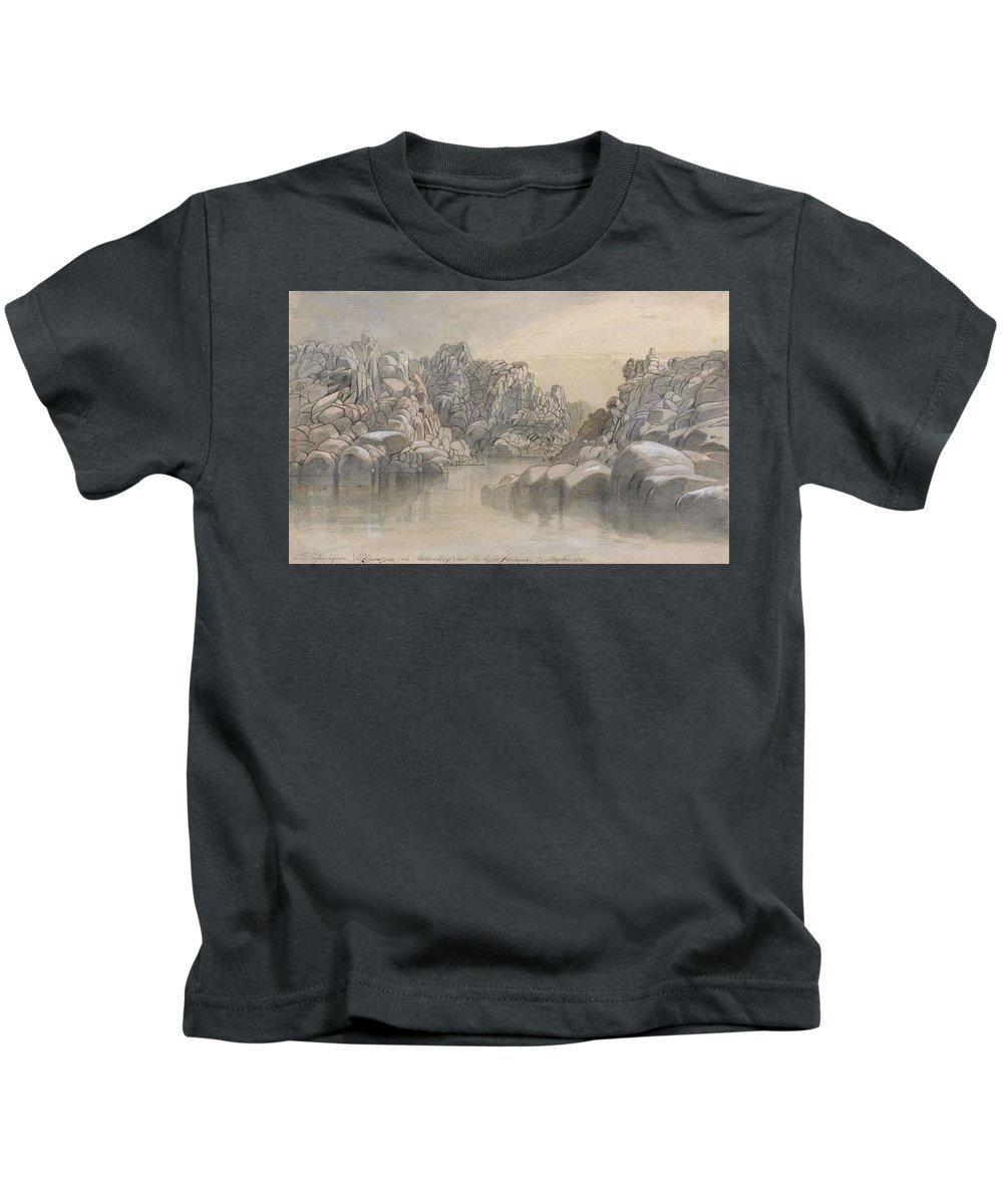 Winter Kids T-Shirt featuring the painting Edward Lear - River Pass Between Semi Barren Rock Cliffs by Edward Lear