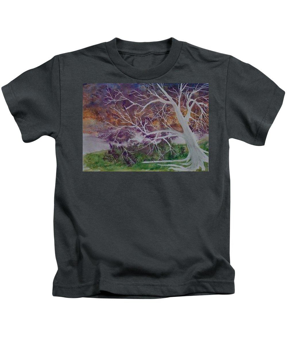 Watercolor Kids T-Shirt featuring the painting Eerie Gothic Landscape Fine Art Surreal Print by Derek Mccrea
