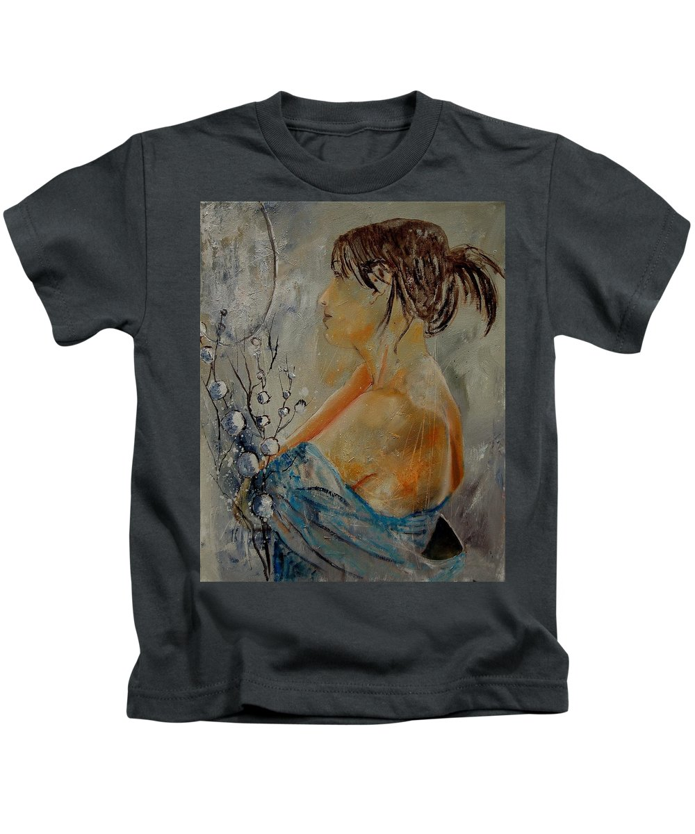 Girl Kids T-Shirt featuring the painting Eglantine Before The Mirror by Pol Ledent
