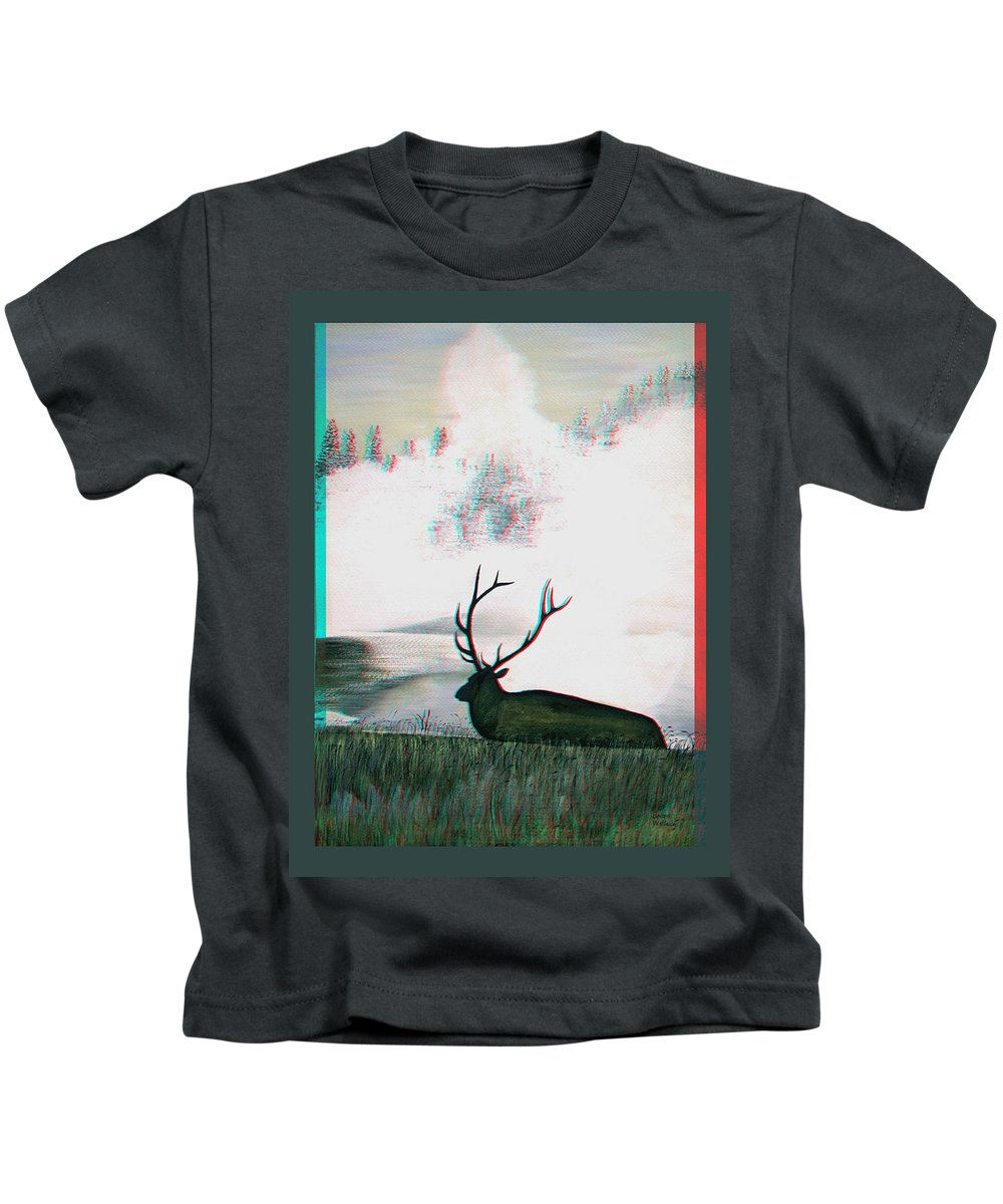3d Kids T-Shirt featuring the photograph Elk - Use Red-cyan 3d Glasses by Brian Wallace