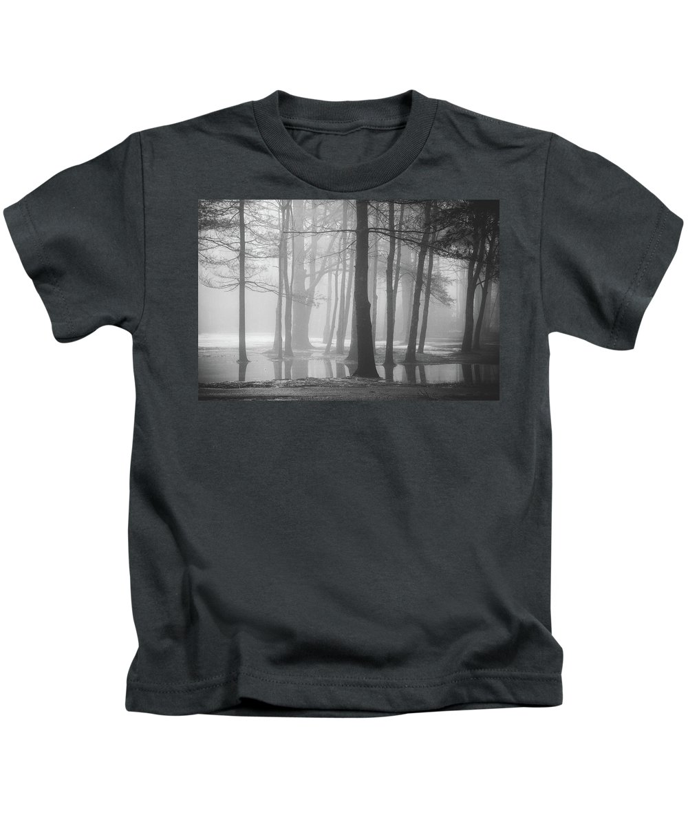 New England Kids T-Shirt featuring the photograph Ellacoya Fog - January Thaw by Robert Clifford