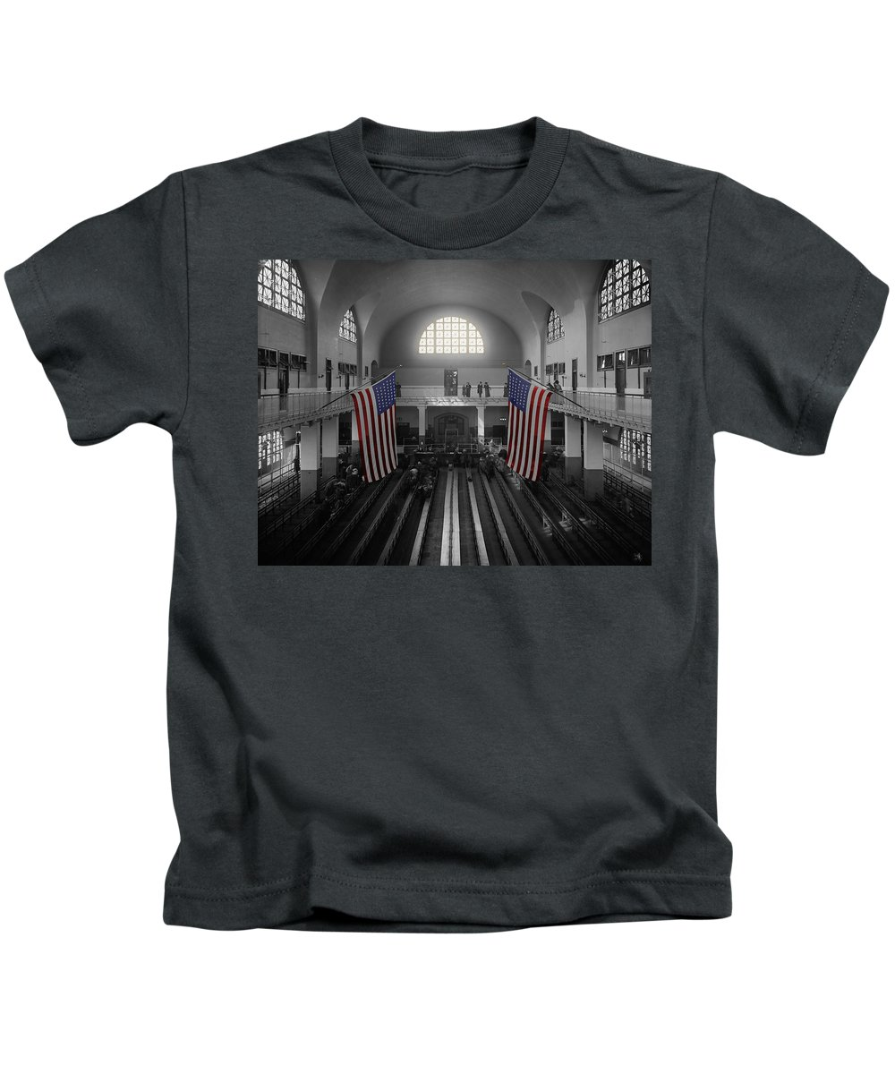 Immigrants Kids T-Shirt featuring the photograph Ellis Island by Andrew Fare