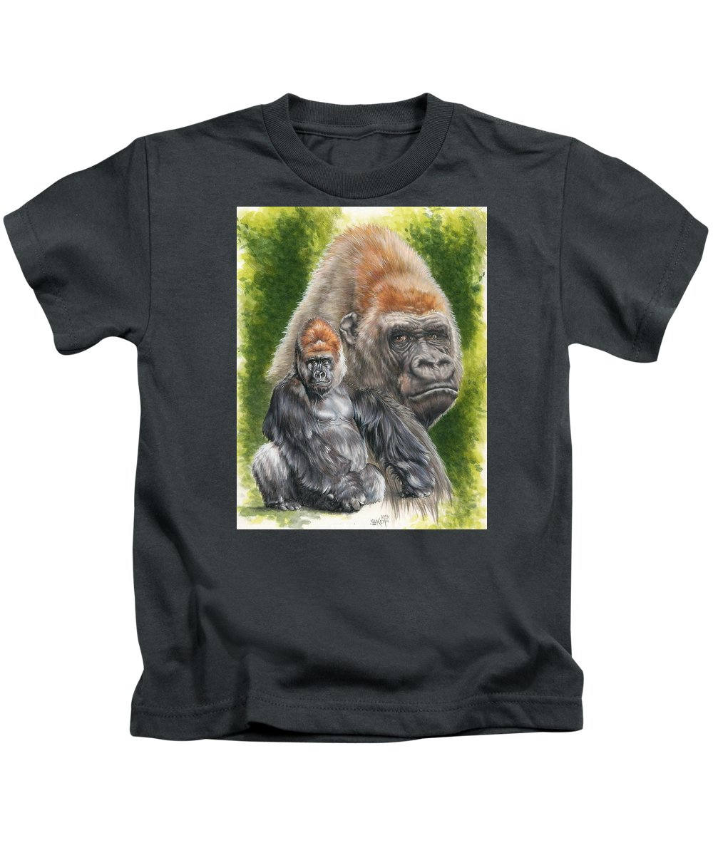 Gorilla Kids T-Shirt featuring the mixed media Eloquent by Barbara Keith