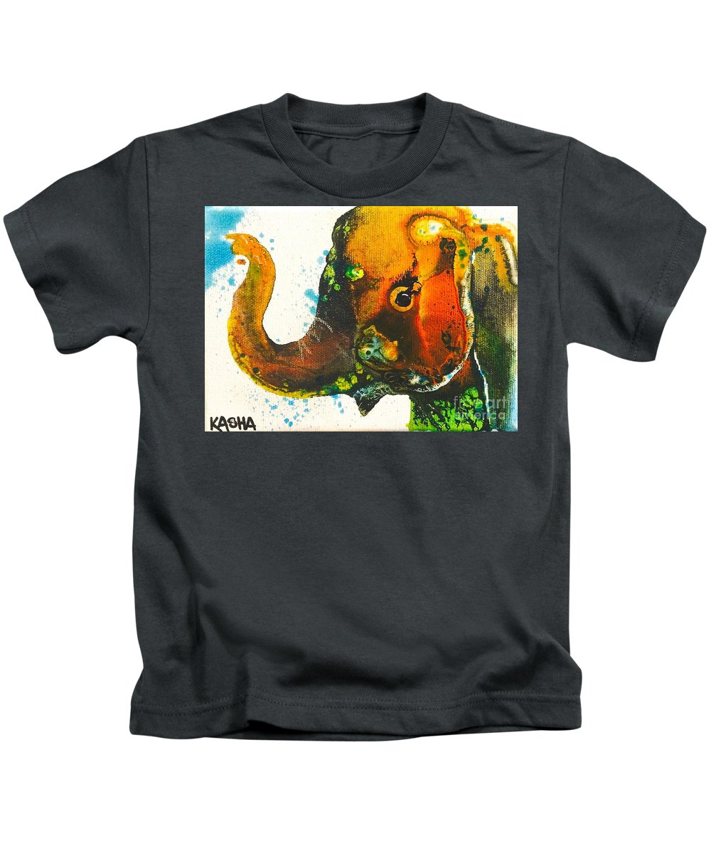 Elephant Kids T-Shirt featuring the painting Rosie-ellie-eloise by Kasha Ritter