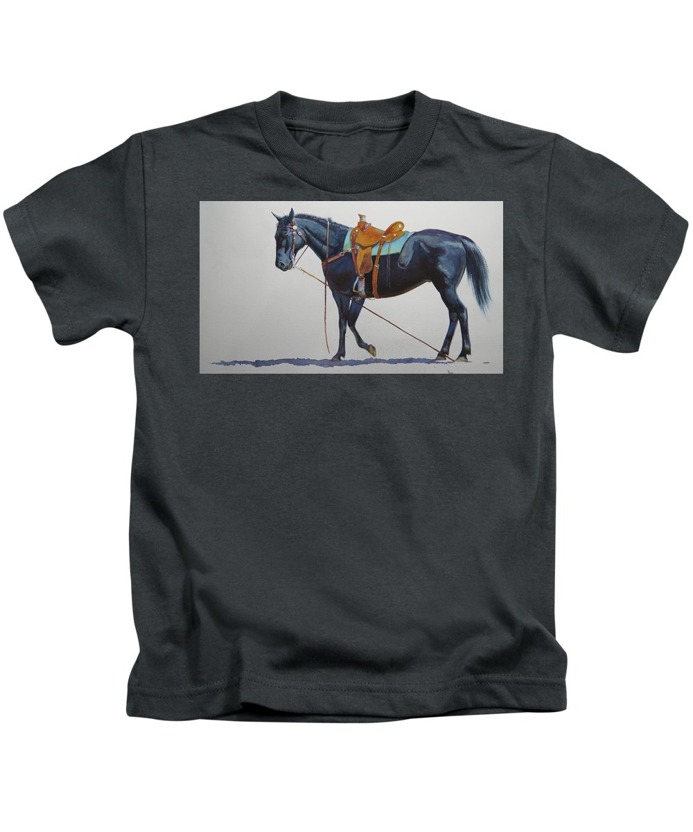 Horse Kids T-Shirt featuring the painting Emergency Brake by Valerie Coe