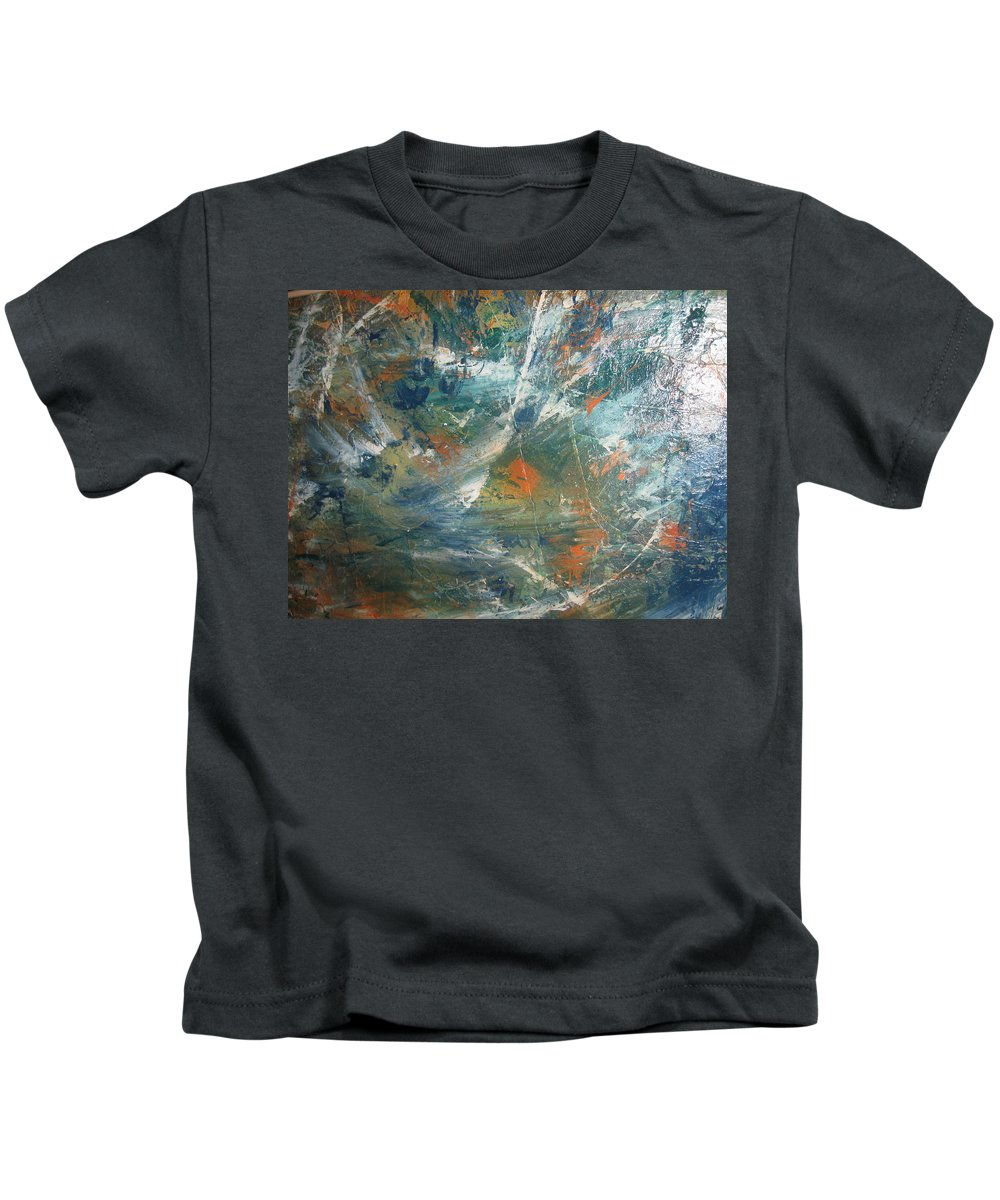 Non Duality Kids T-Shirt featuring the painting Emotional Deluge by Paula Andrea Pyle