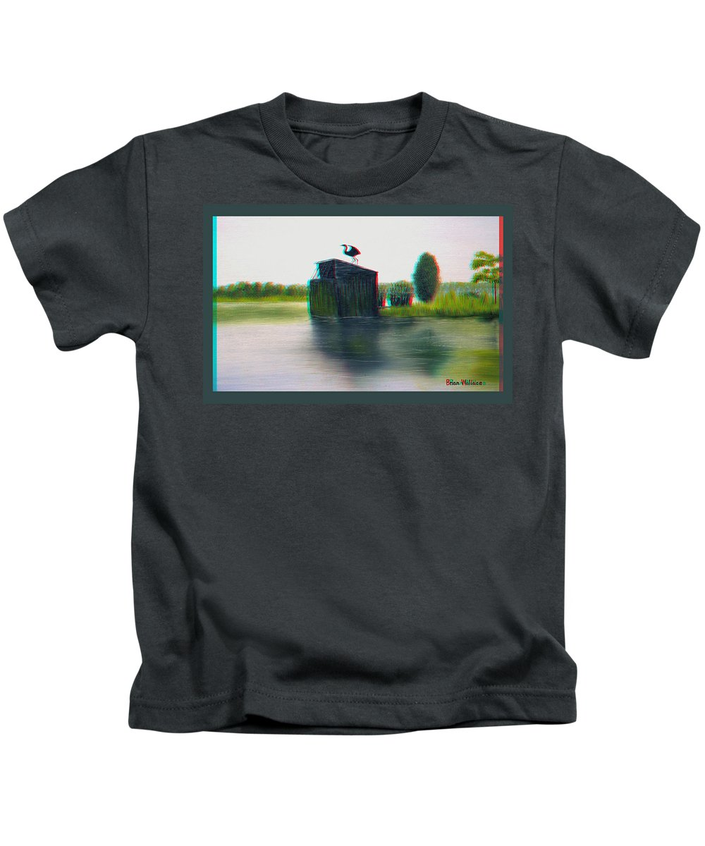 3d Kids T-Shirt featuring the photograph Empty Blind - Use Red-cyan 3d Glasses by Brian Wallace