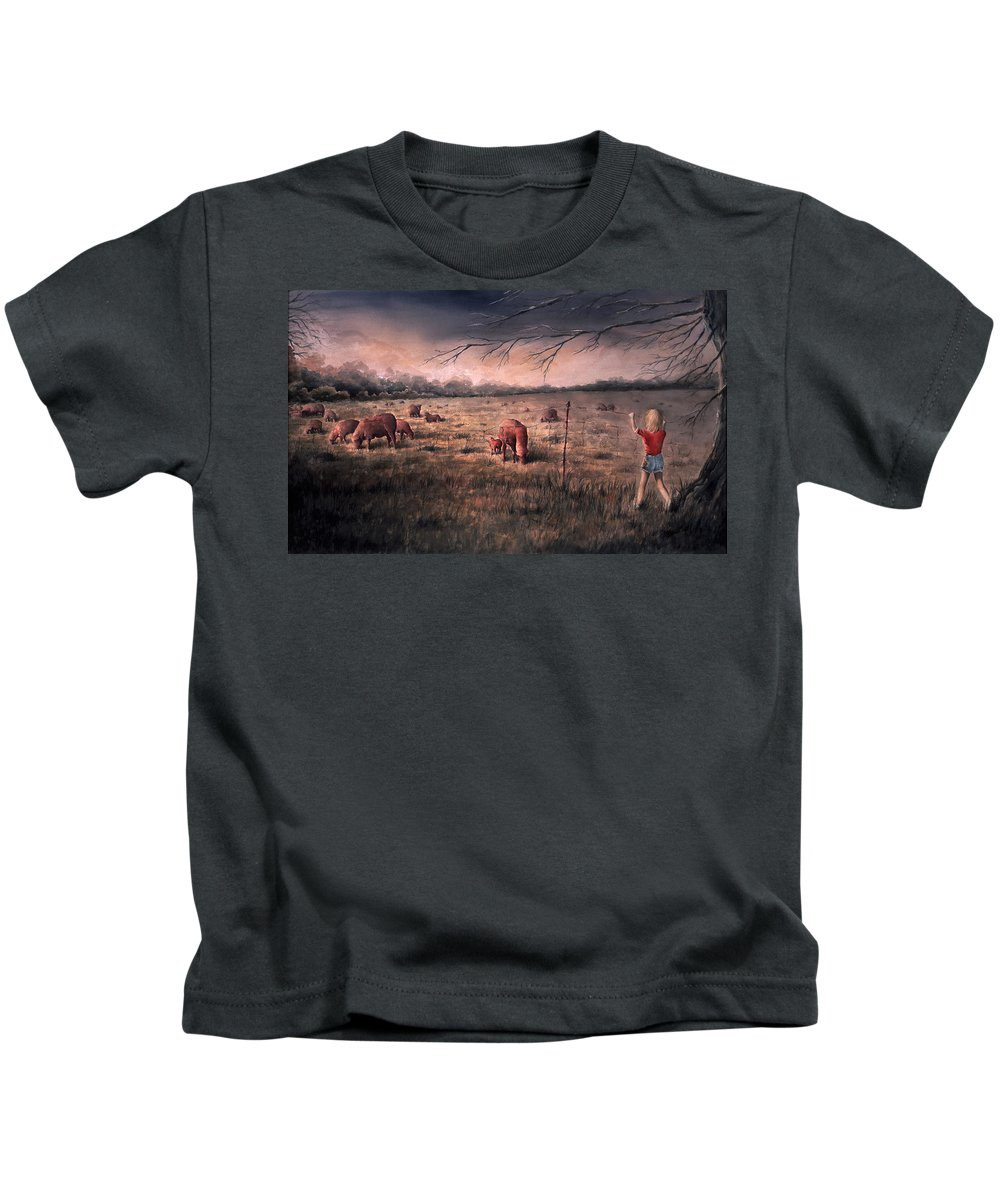 Landscape Kids T-Shirt featuring the painting A Childhood Enchantment by Rachel Christine Nowicki