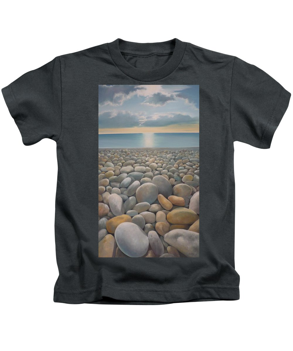 Kids T-Shirt featuring the painting End Of The Day by Caroline Philp