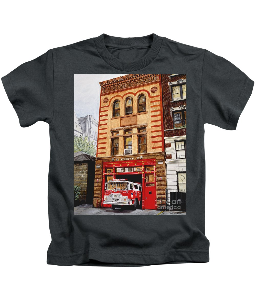 Firehouse Kids T-Shirt featuring the painting Engine Company 47 by Paul Walsh