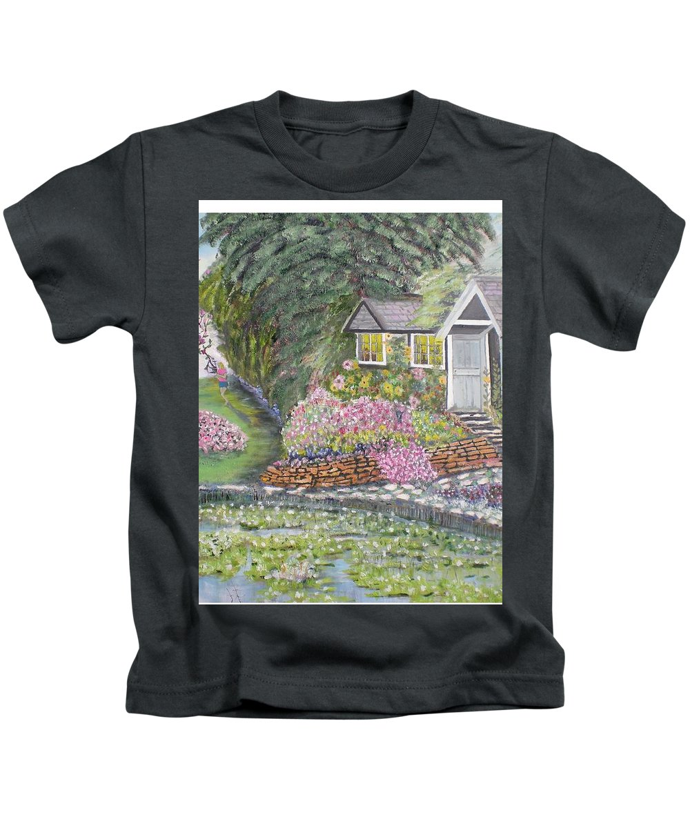 Cottage Kids T-Shirt featuring the painting English Cottage by Hal Newhouser