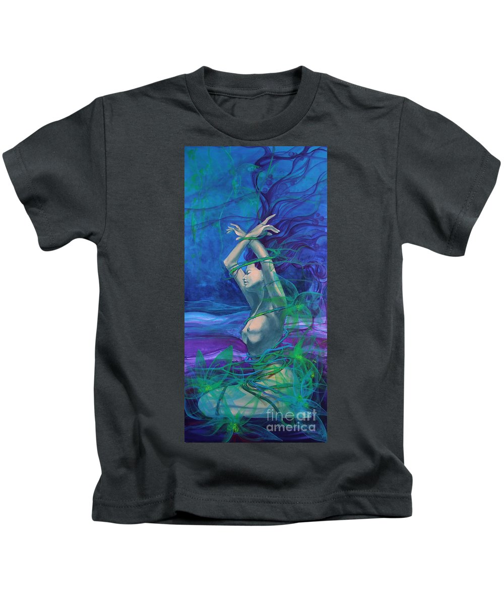 Art Kids T-Shirt featuring the painting Entangled In Your Love... by Dorina Costras