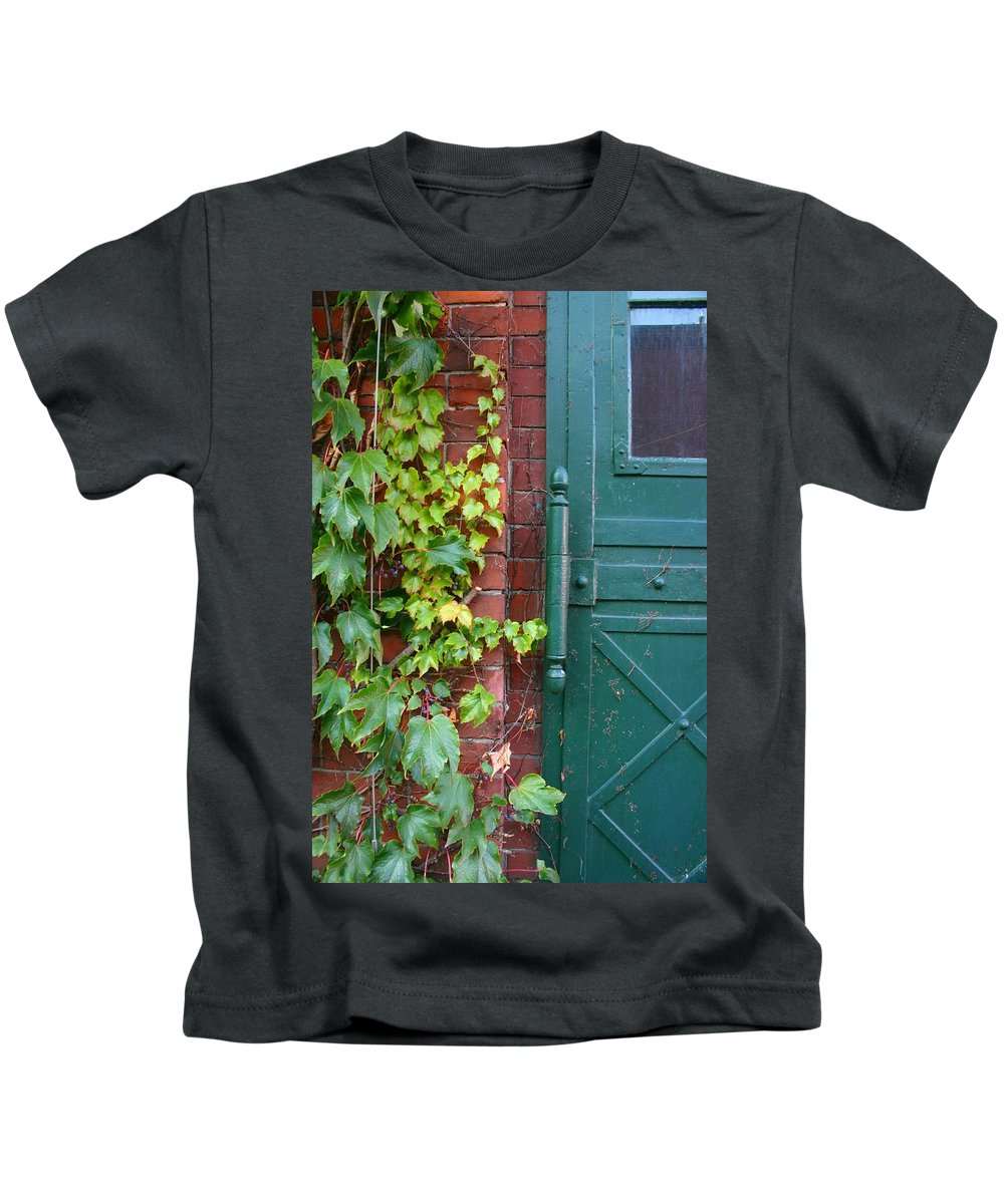 Vines Kids T-Shirt featuring the photograph Enter Vine Door by Minaz Jantz