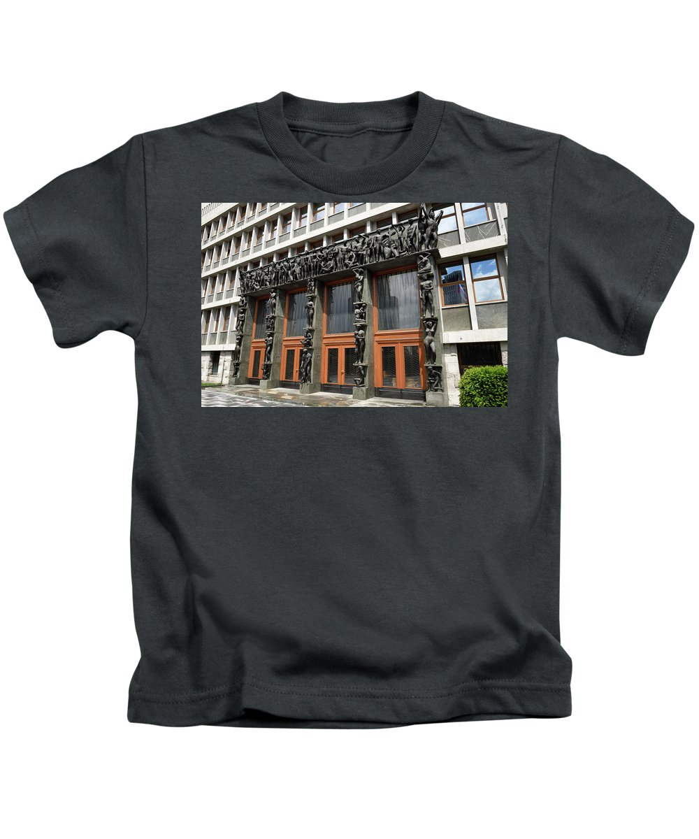 Entrance Kids T-Shirt featuring the photograph Entrance To The National Assembly Building Of Slovenia Slovenian by Reimar Gaertner