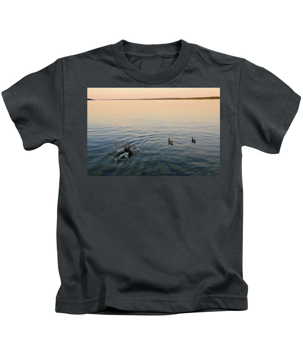 Abstract Kids T-Shirt featuring the photograph Escaping Geese by Lyle Crump