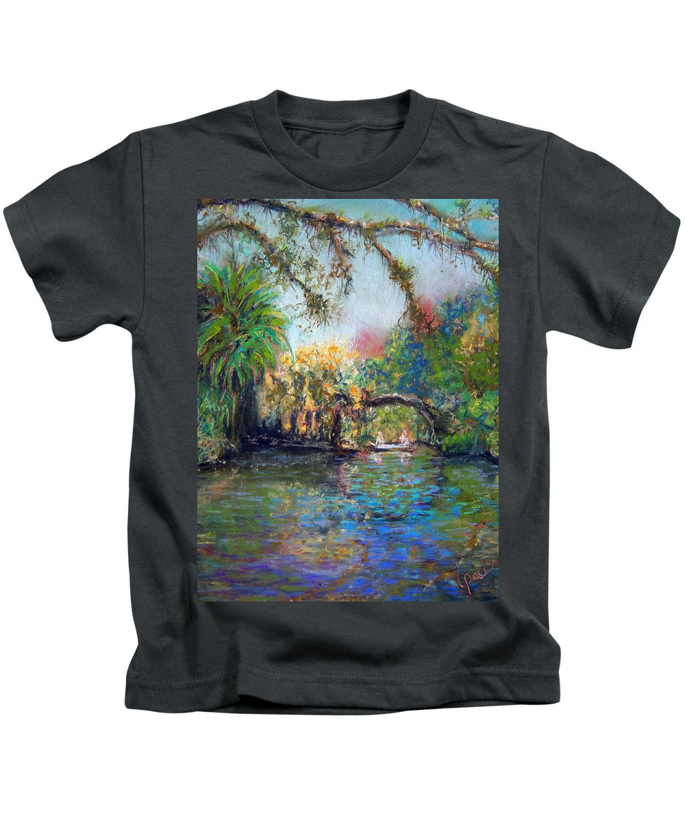 Koreshan State Park Kids T-Shirt featuring the painting Estero River At Koreshan by Laurie Paci