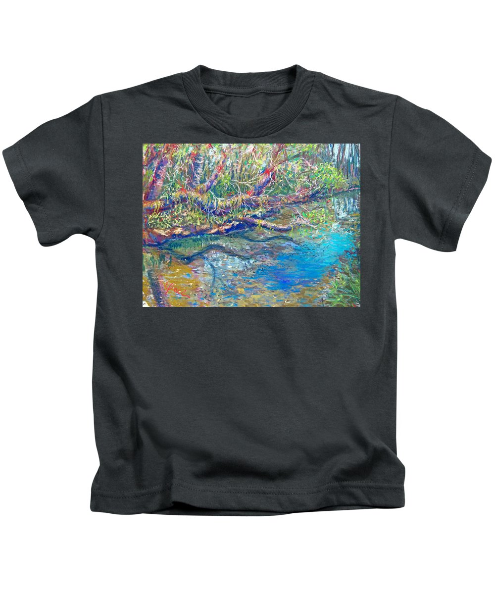 River Koreshan State Park State Park Kids T-Shirt featuring the painting Estero River West by Laurie Paci