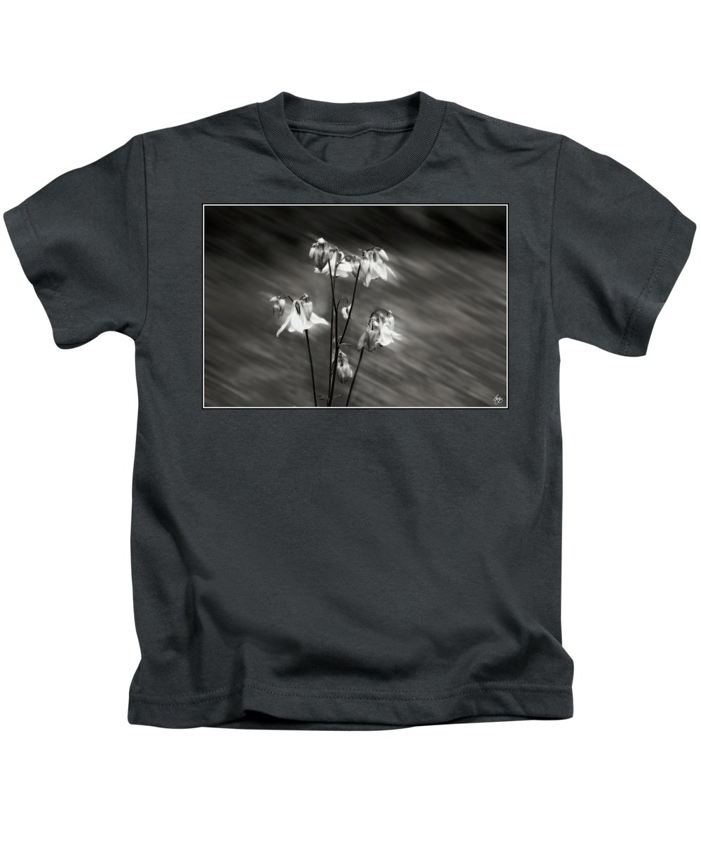Columbine Kids T-Shirt featuring the photograph Ethereal Columbine Monochrome by Wayne King