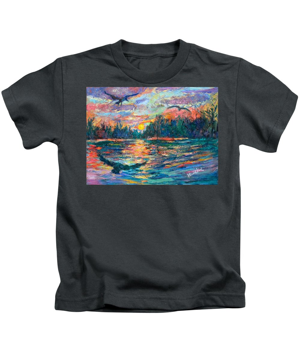Landscape Kids T-Shirt featuring the painting Evening Flight by Kendall Kessler