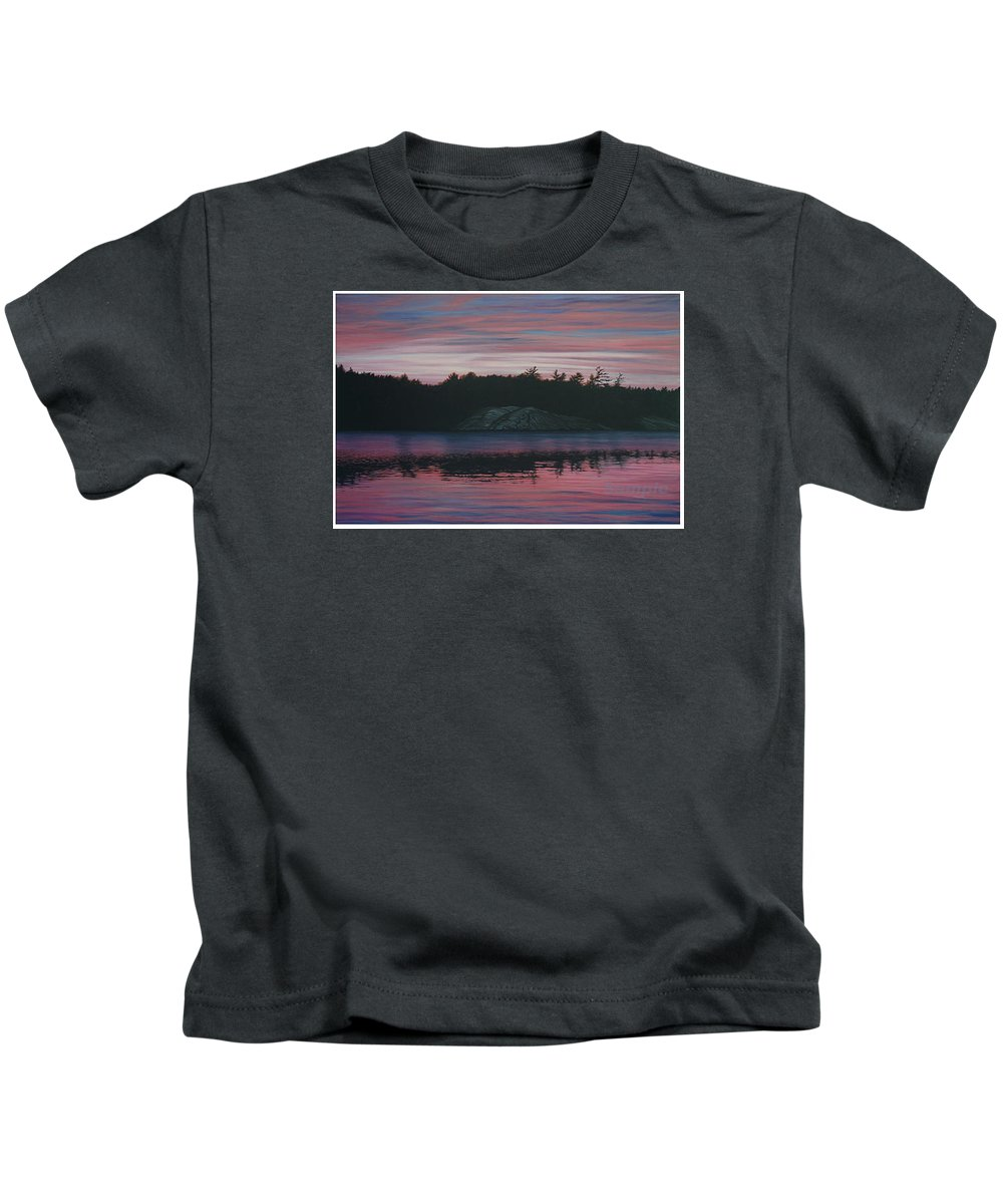 Landscape Kids T-Shirt featuring the painting Evening In La Cloche by Jan Lyons