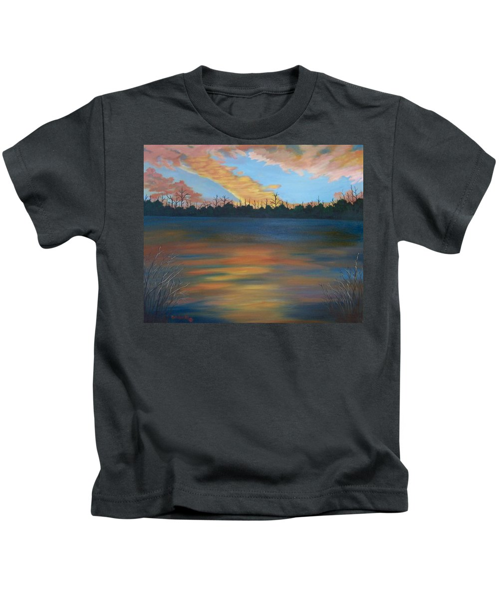 Landscape Kids T-Shirt featuring the painting Evening Peace by Ruth Housley