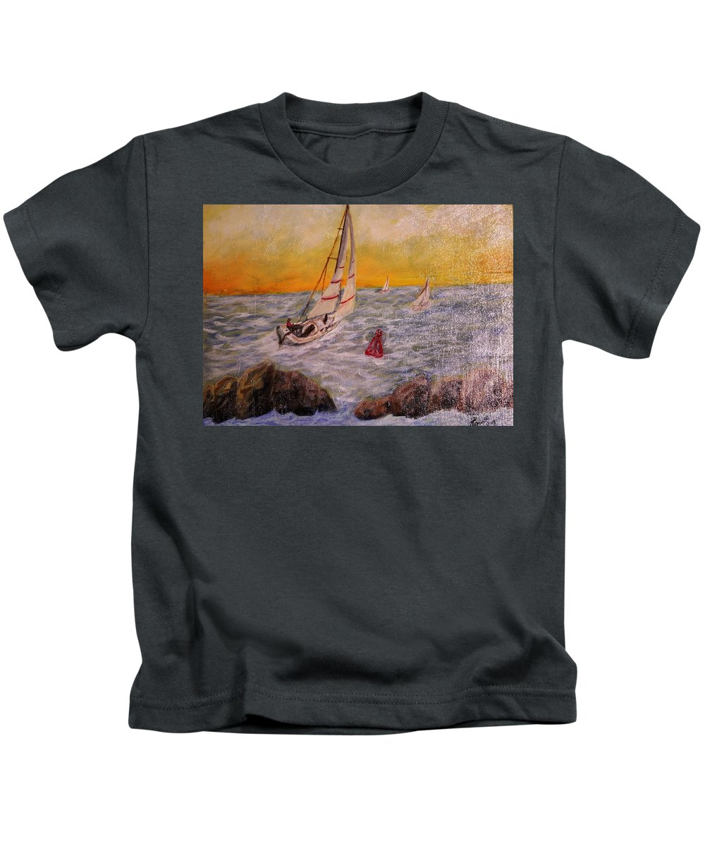 Sail Boat Kids T-Shirt featuring the painting Evening Sail by Rowlf Welch