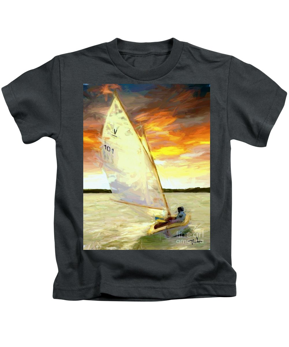 Sailing Kids T-Shirt featuring the digital art Evening Sail by Tom Sachse