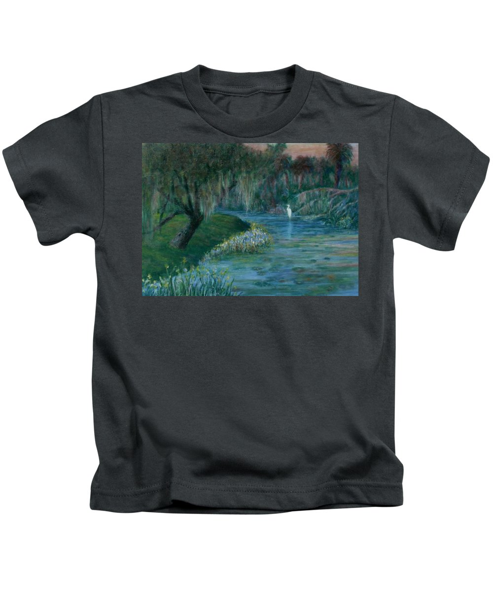 Low Country; Egrets; Lily Pads Kids T-Shirt featuring the painting Evening Shadows by Ben Kiger