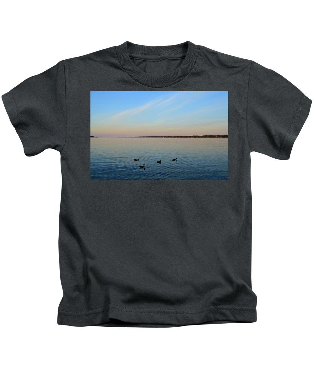 Abstract Kids T-Shirt featuring the photograph Evening Swimming Geese Two by Lyle Crump