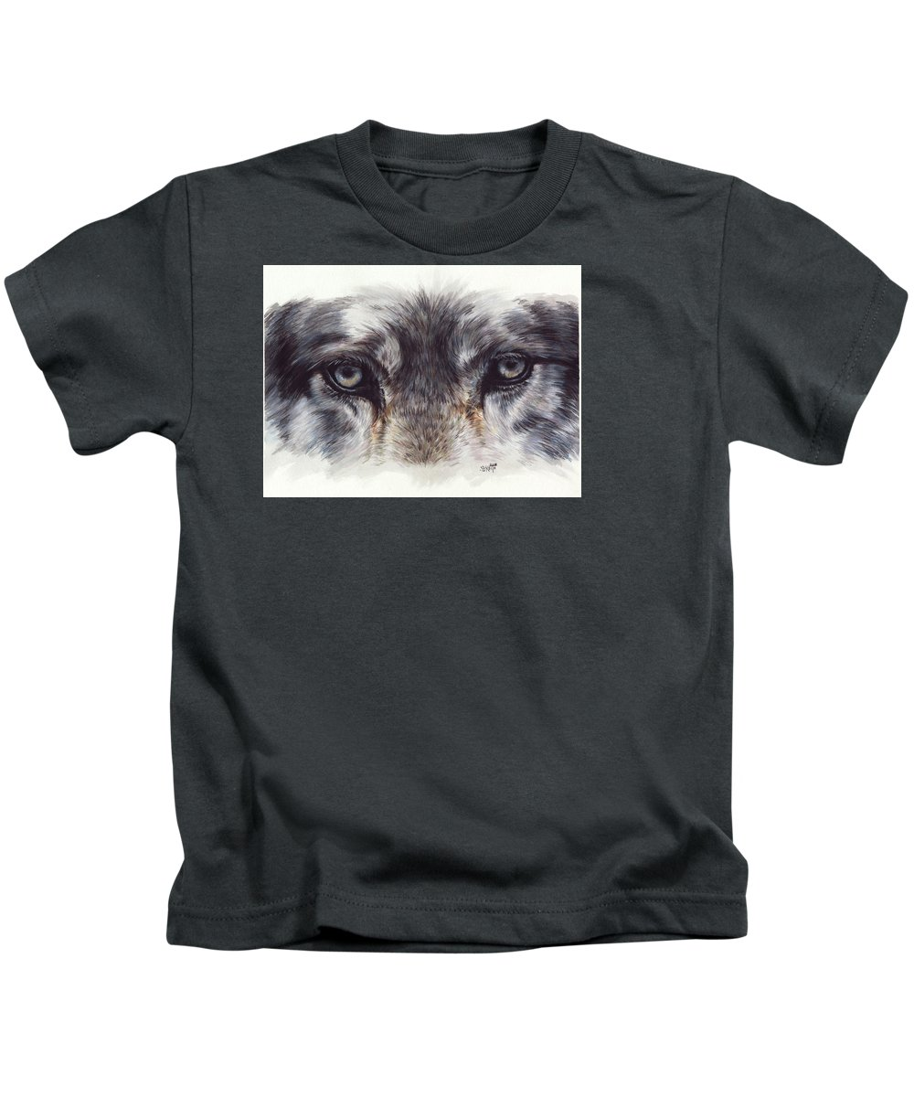 Wolf Kids T-Shirt featuring the painting Eye-catching Wolf by Barbara Keith