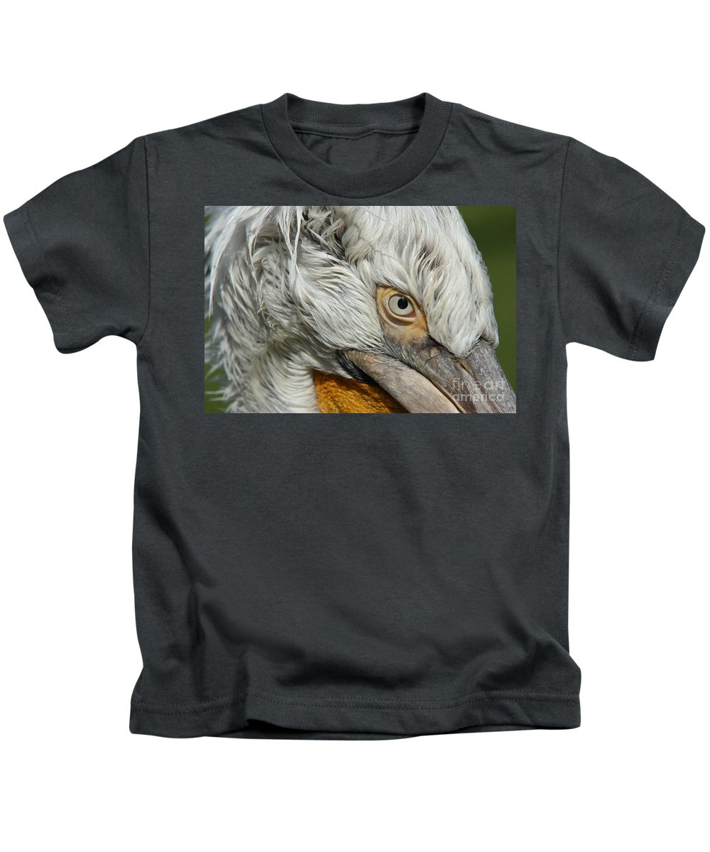 Dalmatian Pelican Kids T-Shirt featuring the photograph Eye by Michal Boubin
