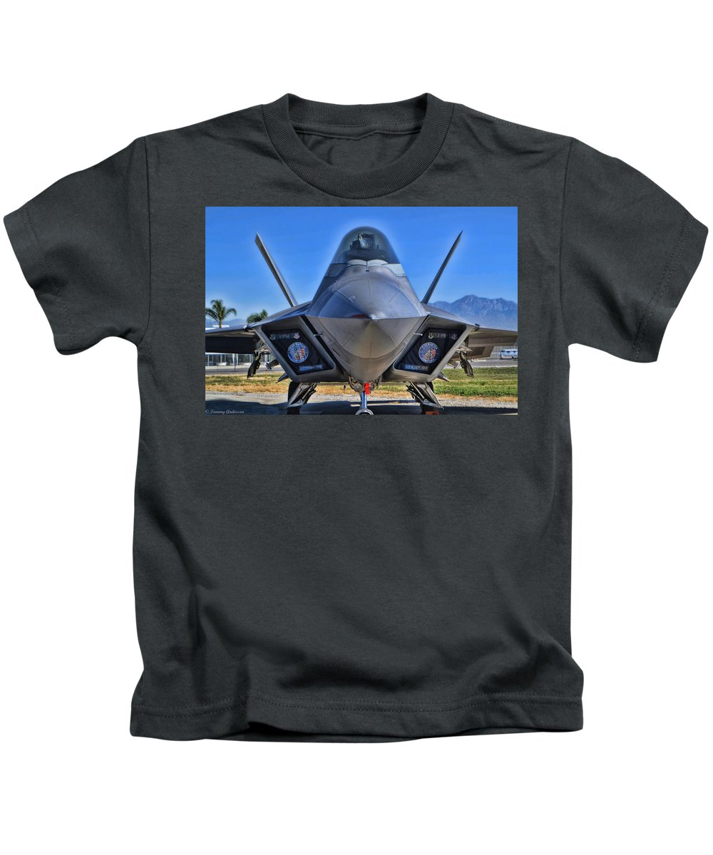 Lockheed Martin F-22 Raptor Kids T-Shirt featuring the photograph F-22 Raptor 1 by Tommy Anderson