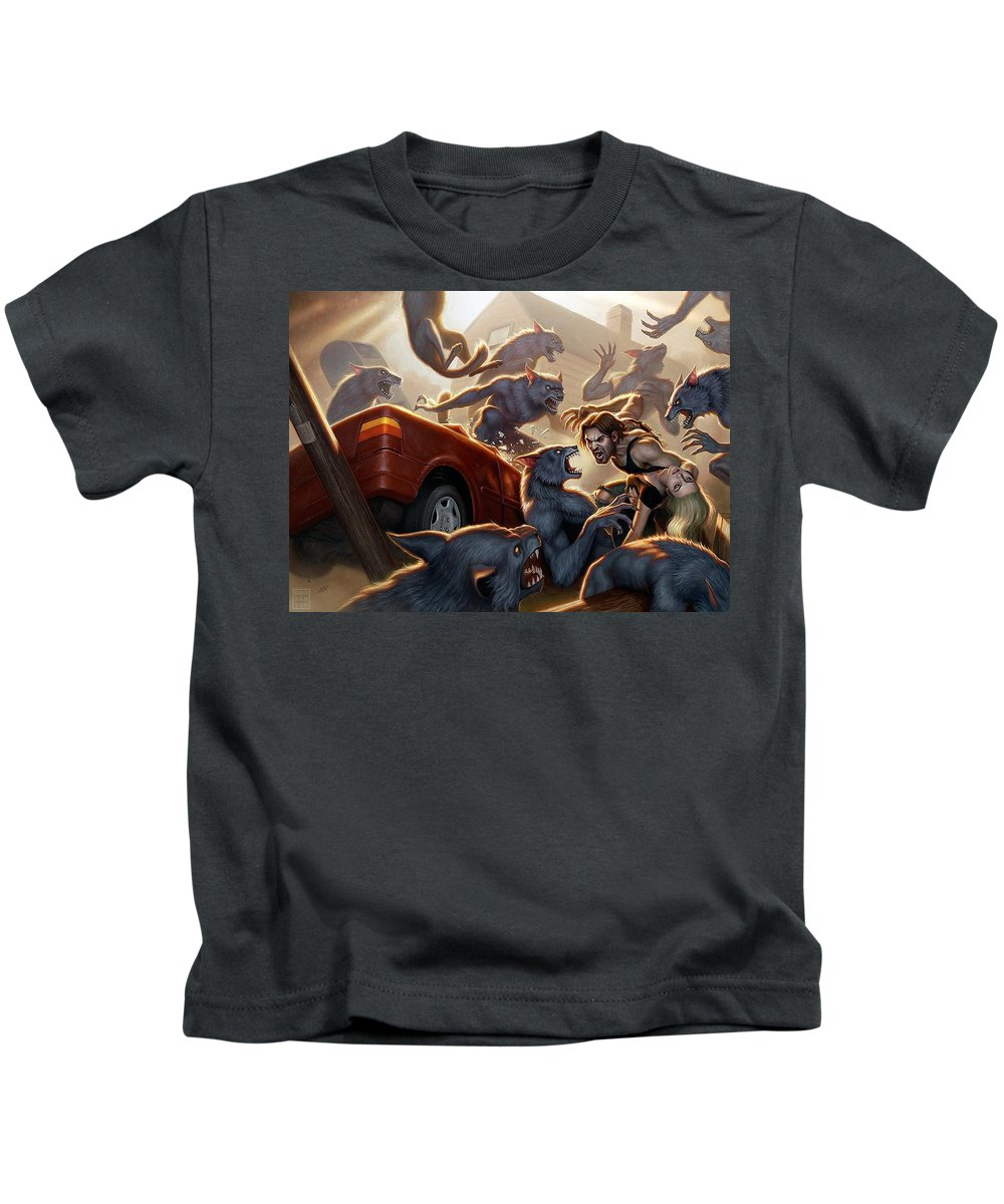 Fables Kids T-Shirt featuring the digital art Fables by Dorothy Binder