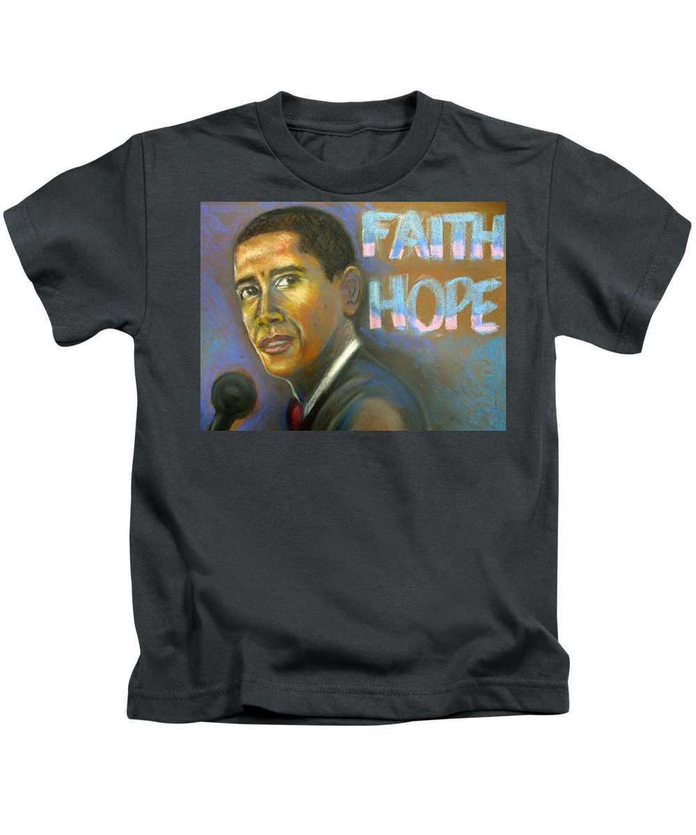 Kids T-Shirt featuring the drawing Faith And Hope by Jan Gilmore