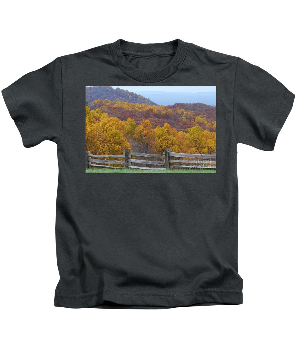 Fence Kids T-Shirt featuring the photograph Fall Blend by Eric Liller