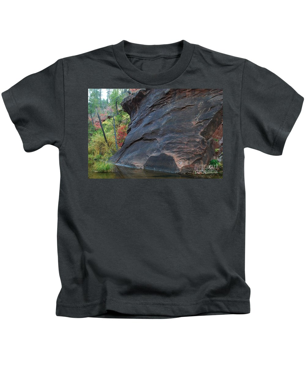 Photo Kids T-Shirt featuring the photograph Fall Colors Peek Around Mountain Horizontal Number 1 by Heather Kirk
