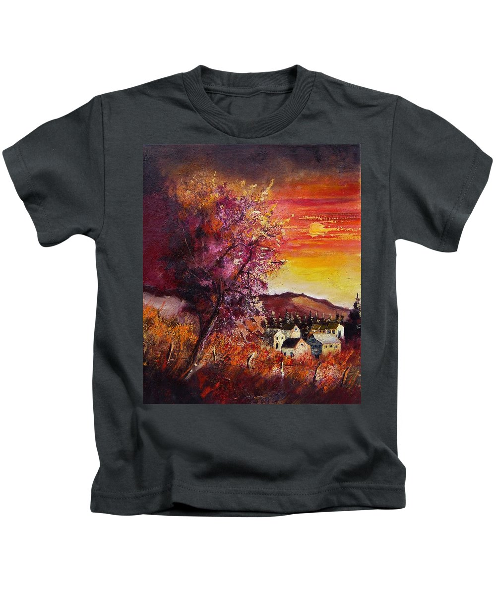 Autumn Kids T-Shirt featuring the painting Fall In Villers by Pol Ledent