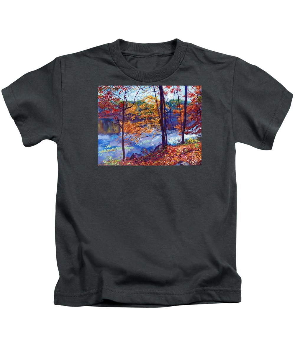 Landscape Kids T-Shirt featuring the painting Falling Leaves by David Lloyd Glover