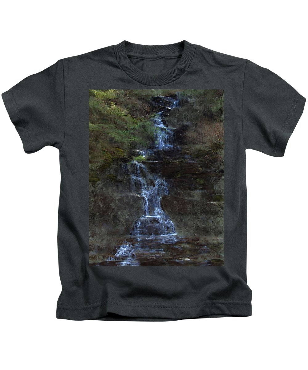 Kids T-Shirt featuring the photograph Falls At 6 Mile Creek Ithaca N.y. by David Lane