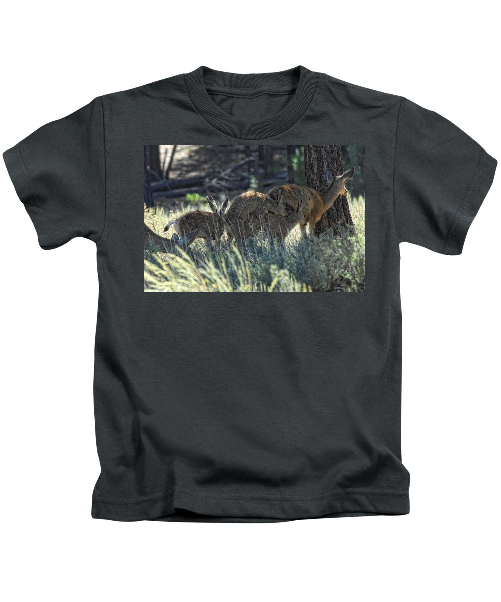 Deer Kids T-Shirt featuring the photograph Family Values by Donna Blackhall