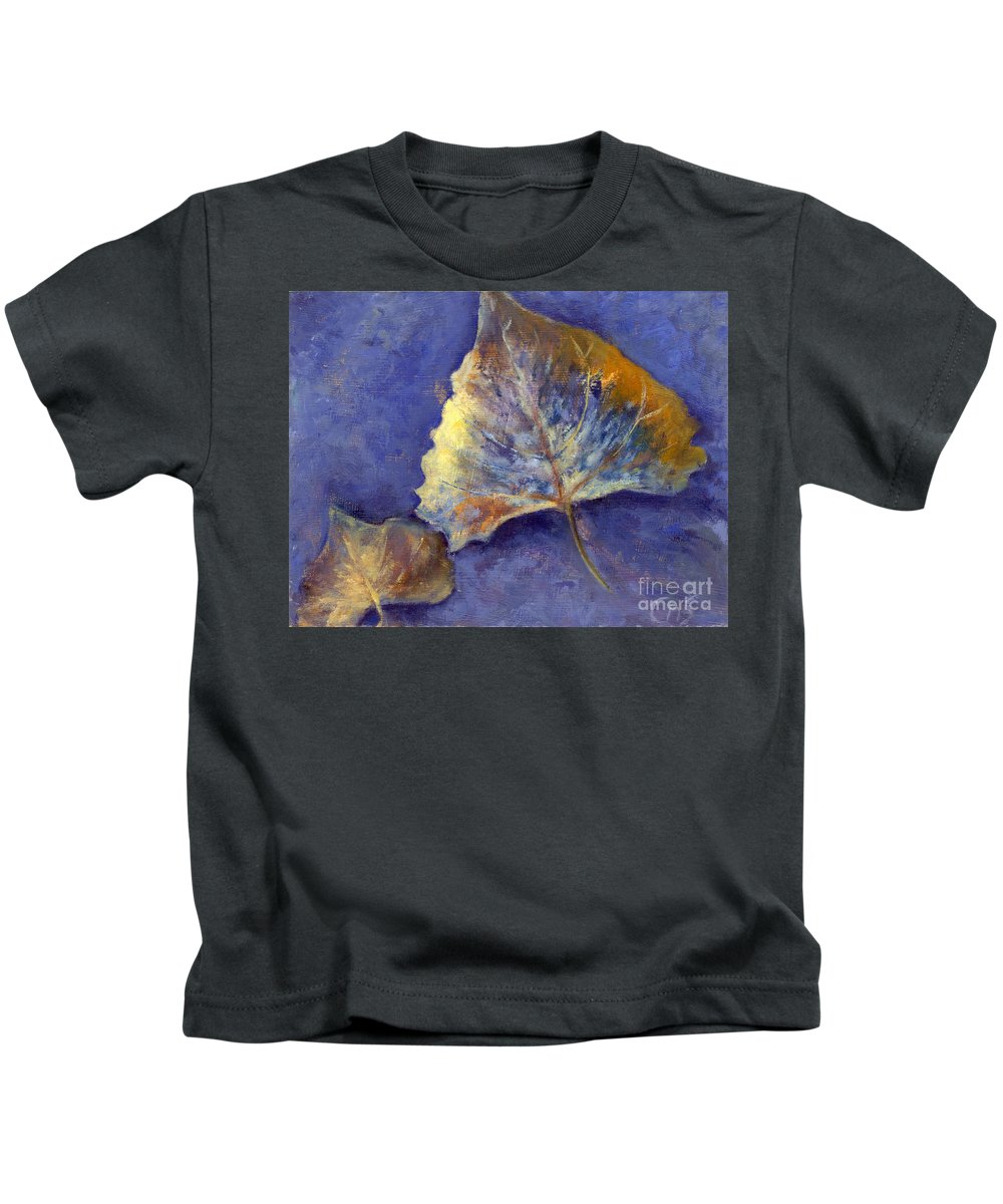 Leaves Kids T-Shirt featuring the painting Fanciful Leaves by Chris Neil Smith