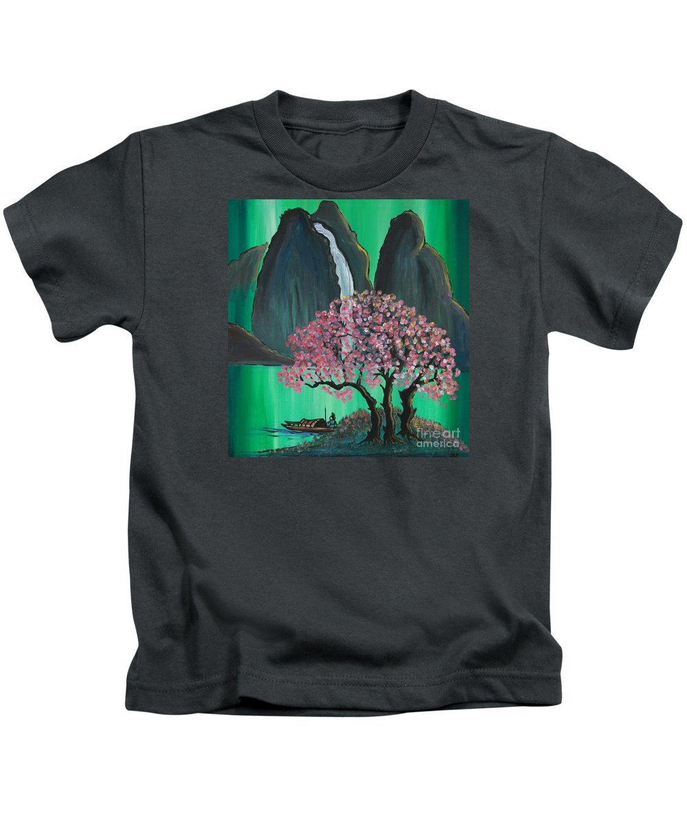 Japan Kids T-Shirt featuring the painting Fantasy Japan by Jacqueline Athmann
