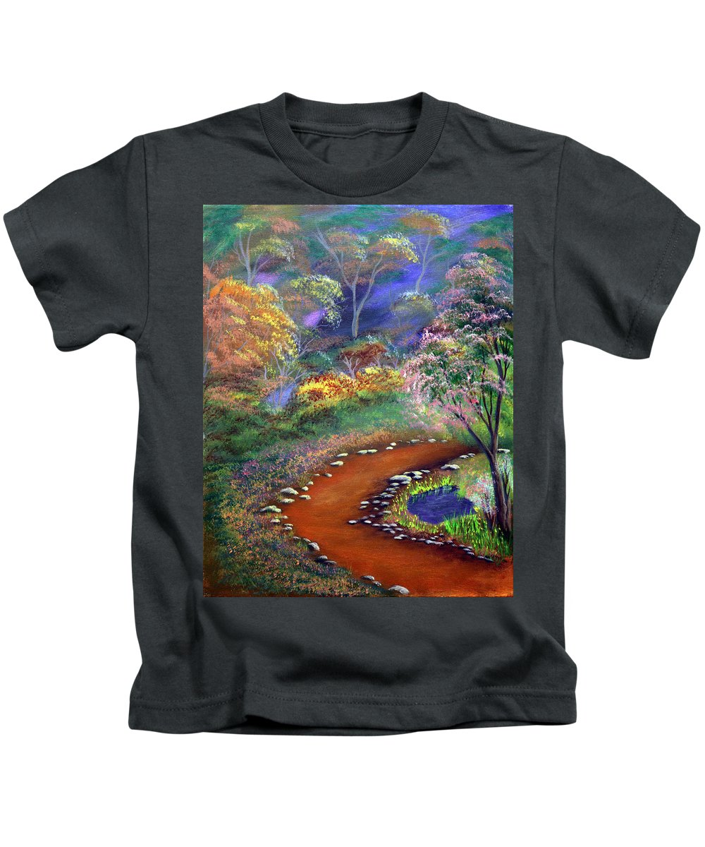 Dawn Blair Kids T-Shirt featuring the painting Fantasy Path by Dawn Blair