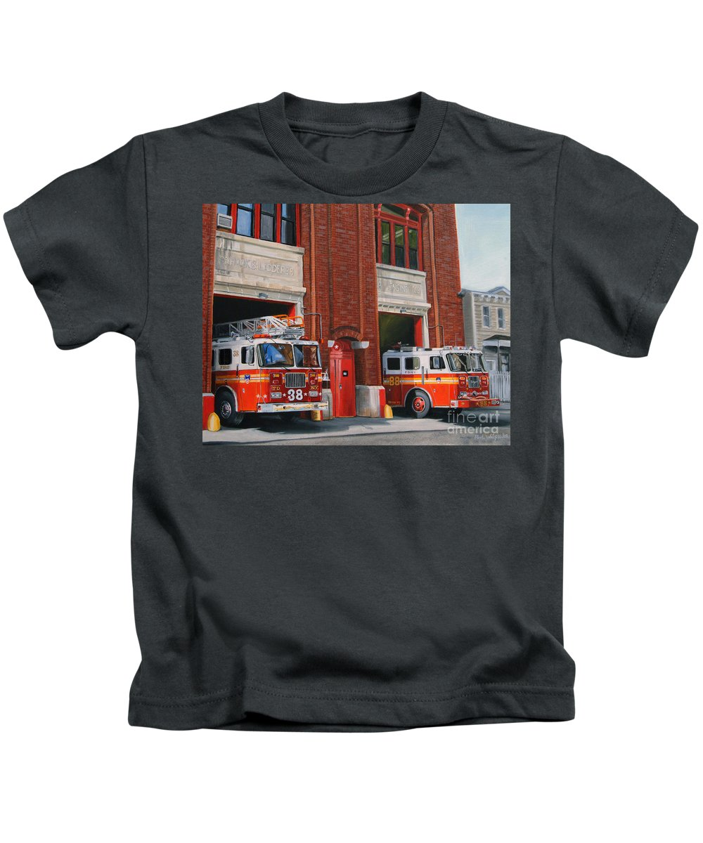 Fire House Kids T-Shirt featuring the painting FDNY Engine 88 and Ladder 38 by Paul Walsh