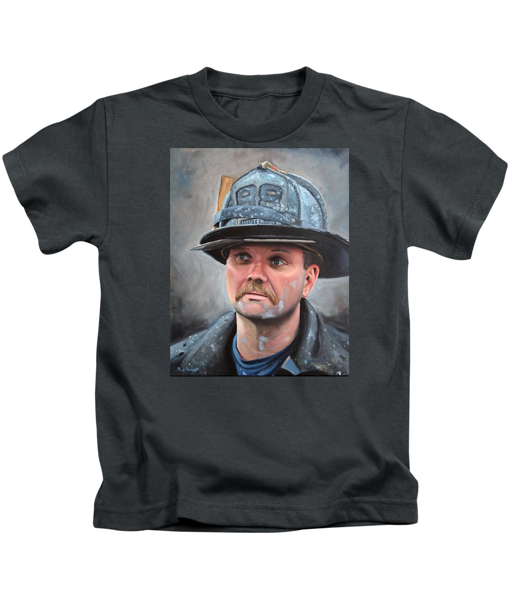 Fdny Kids T-Shirt featuring the painting Fdny Lieutenant by Paul Walsh