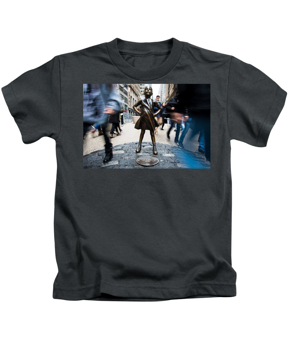 Fearless Girl Kids T-Shirt featuring the photograph Fearless Girl by Stephen Holst
